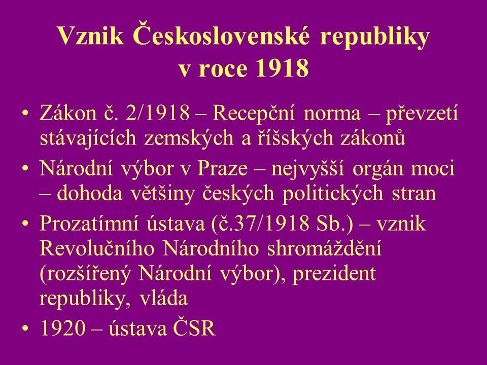 Vznik Československé republiky v roce 1918