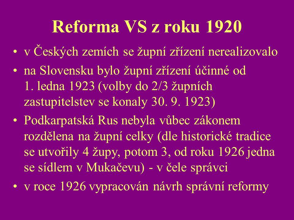 Reforma VS z roku 1920 v Českých zemích se župní zřízení nerealizovalo