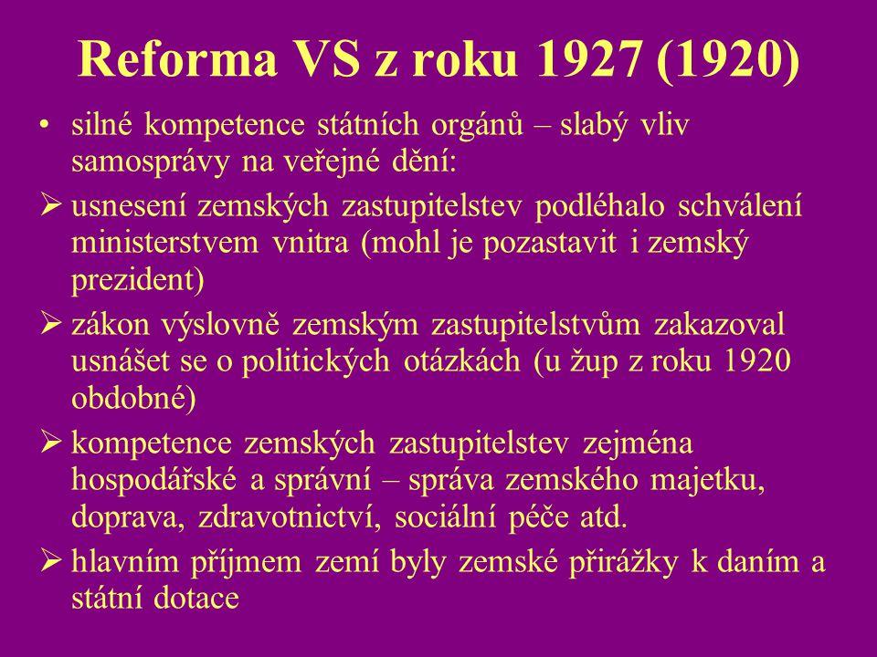 Reforma VS z roku 1927 (1920) silné kompetence státních orgánů – slabý vliv samosprávy na veřejné dění: