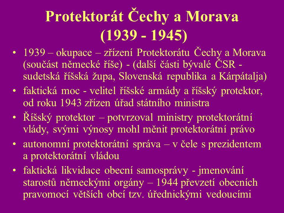 Protektorát Čechy a Morava (1939 - 1945)