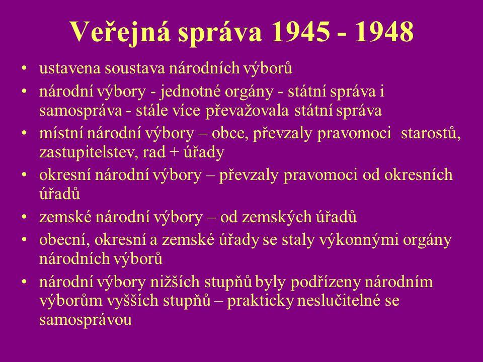 Veřejná správa 1945 - 1948 ustavena soustava národních výborů