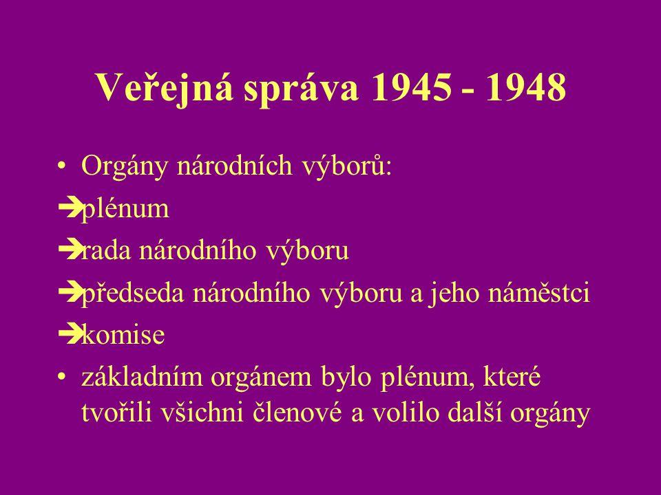 Veřejná správa 1945 - 1948 Orgány národních výborů: plénum