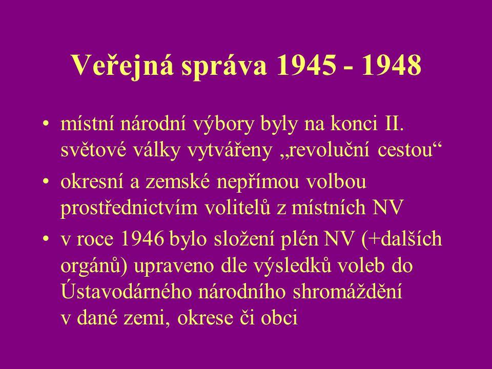 """Veřejná správa 1945 - 1948 místní národní výbory byly na konci II. světové války vytvářeny """"revoluční cestou"""