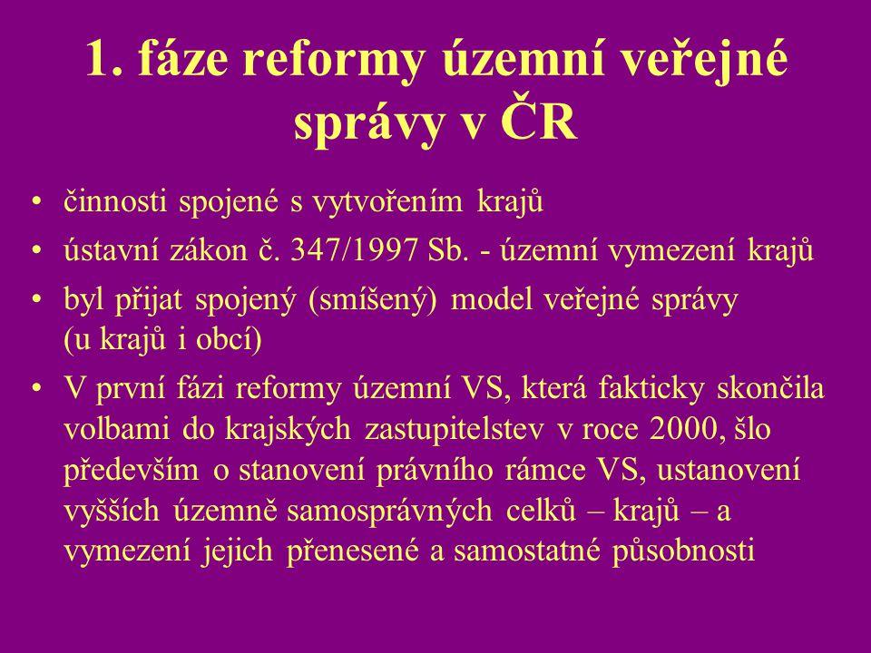 1. fáze reformy územní veřejné správy v ČR