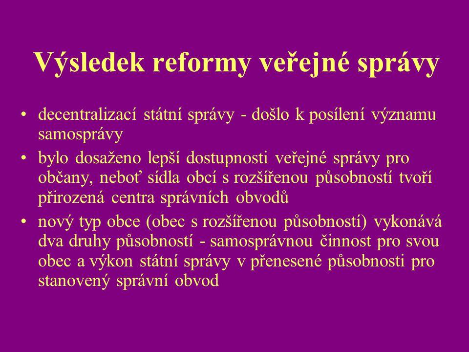 Výsledek reformy veřejné správy