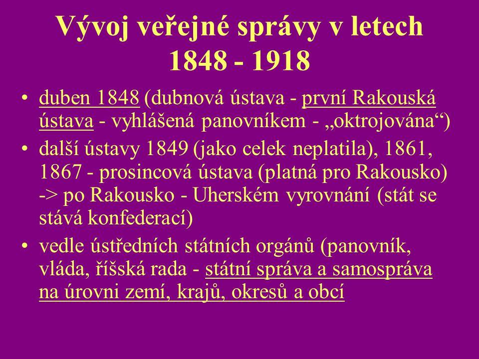 Vývoj veřejné správy v letech 1848 - 1918