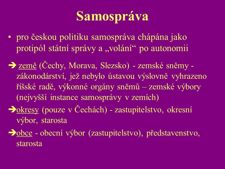 """Samospráva pro českou politiku samospráva chápána jako protipól státní správy a """"volání po autonomii."""