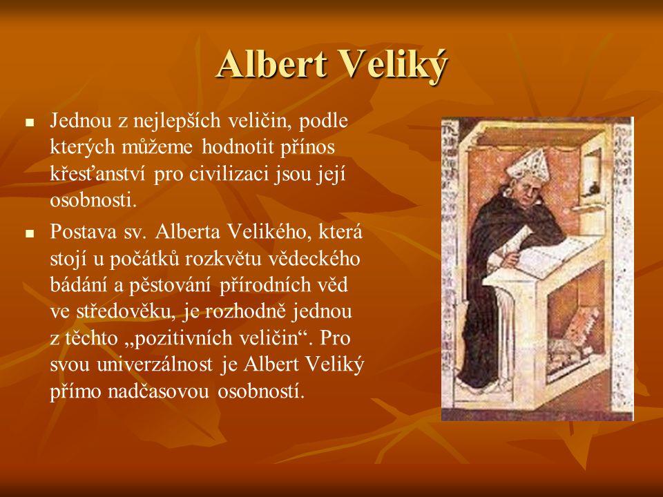 Albert Veliký Jednou z nejlepších veličin, podle kterých můžeme hodnotit přínos křesťanství pro civilizaci jsou její osobnosti.