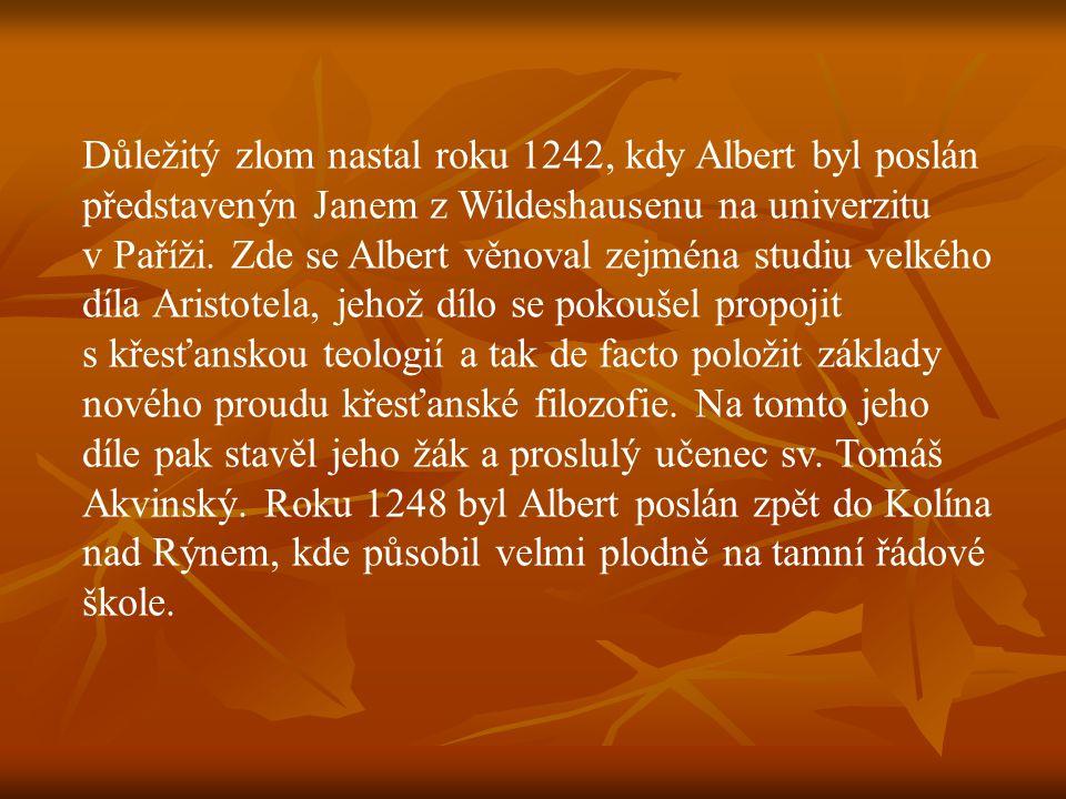 Důležitý zlom nastal roku 1242, kdy Albert byl poslán představenýn Janem z Wildeshausenu na univerzitu v Paříži.