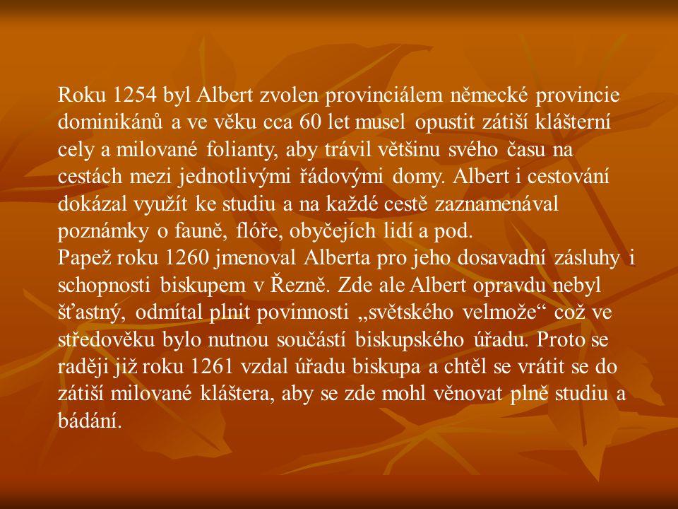 Roku 1254 byl Albert zvolen provinciálem německé provincie dominikánů a ve věku cca 60 let musel opustit zátiší klášterní cely a milované folianty, aby trávil většinu svého času na cestách mezi jednotlivými řádovými domy. Albert i cestování dokázal využít ke studiu a na každé cestě zaznamenával poznámky o fauně, flóře, obyčejích lidí a pod.