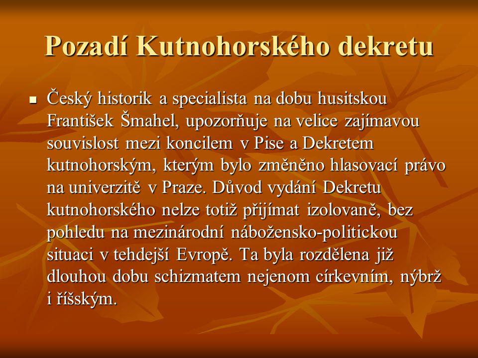 Pozadí Kutnohorského dekretu