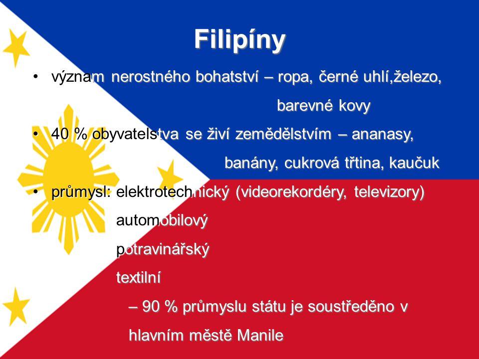 Filipíny význam nerostného bohatství – ropa, černé uhlí,železo,