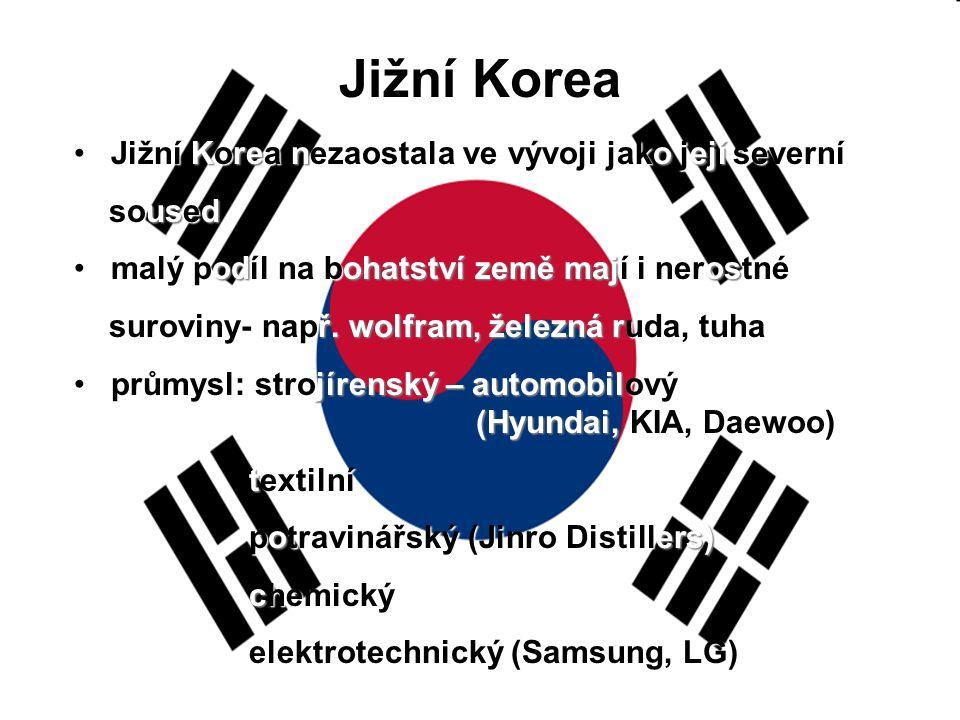Jižní Korea Jižní Korea nezaostala ve vývoji jako její severní soused