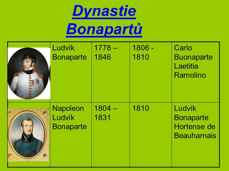 Dynastie Bonapartů Ludvík Bonaparte 1778 – 1846 1806 - 1810