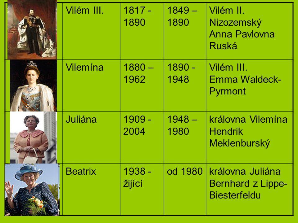 Vilém III. 1817 - 1890. 1849 – 1890. Vilém II. Nizozemský Anna Pavlovna Ruská. Vilemína. 1880 – 1962.