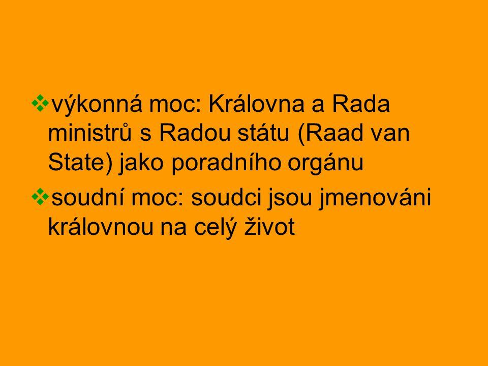 výkonná moc: Královna a Rada ministrů s Radou státu (Raad van State) jako poradního orgánu