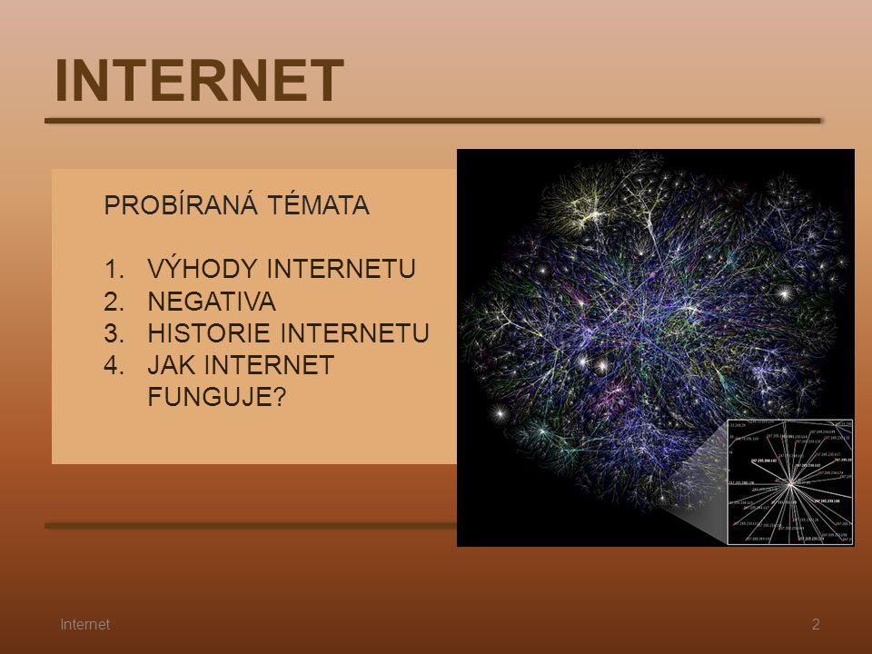 INTERNET PROBÍRANÁ TÉMATA 1. VÝHODY INTERNETU 2. NEGATIVA 3. HISTORIE INTERNETU 4. JAK INTERNET FUNGUJE