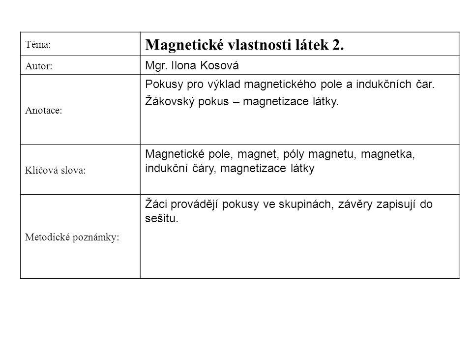 Magnetické vlastnosti látek 2.