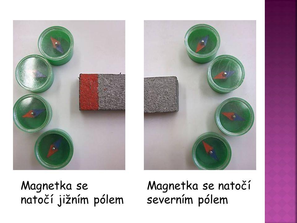 Magnetka se natočí jižním pólem