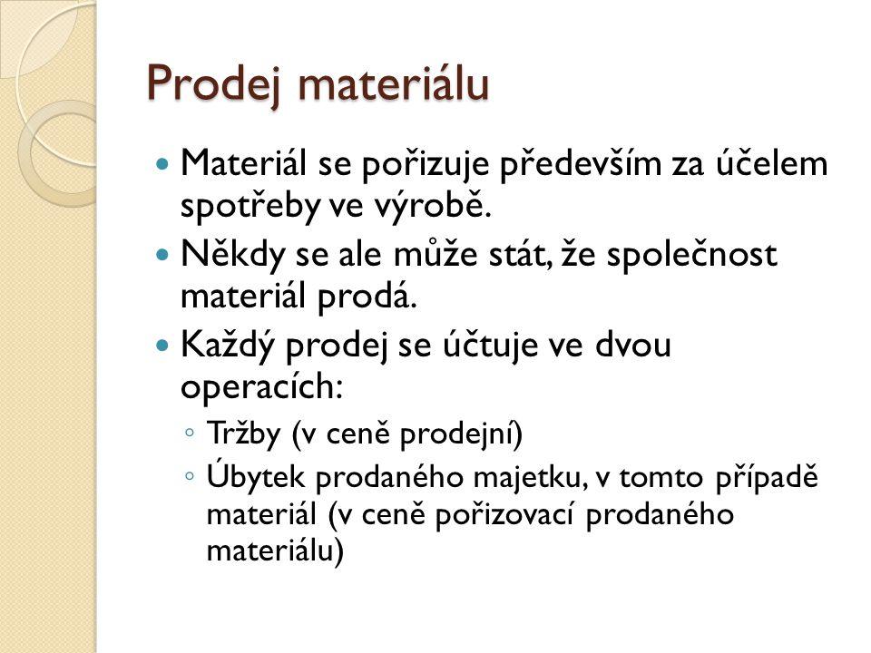 Prodej materiálu Materiál se pořizuje především za účelem spotřeby ve výrobě. Někdy se ale může stát, že společnost materiál prodá.
