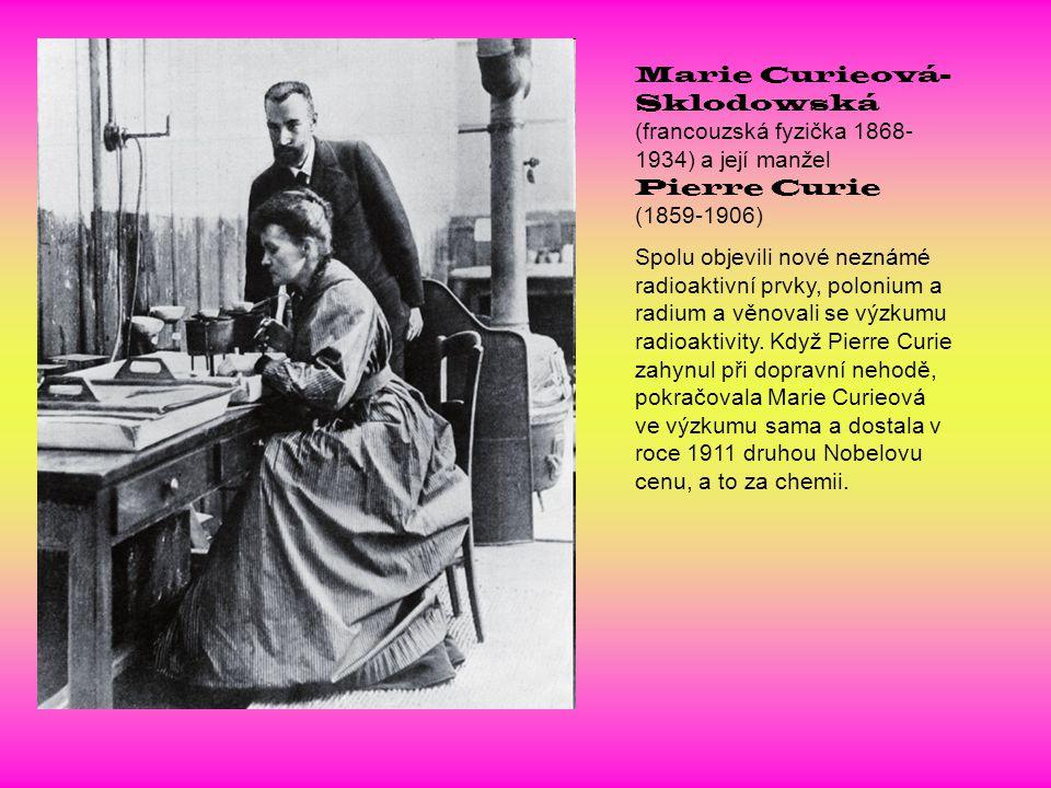 Marie Curieová-Sklodowská (francouzská fyzička 1868-1934) a její manžel Pierre Curie (1859-1906)