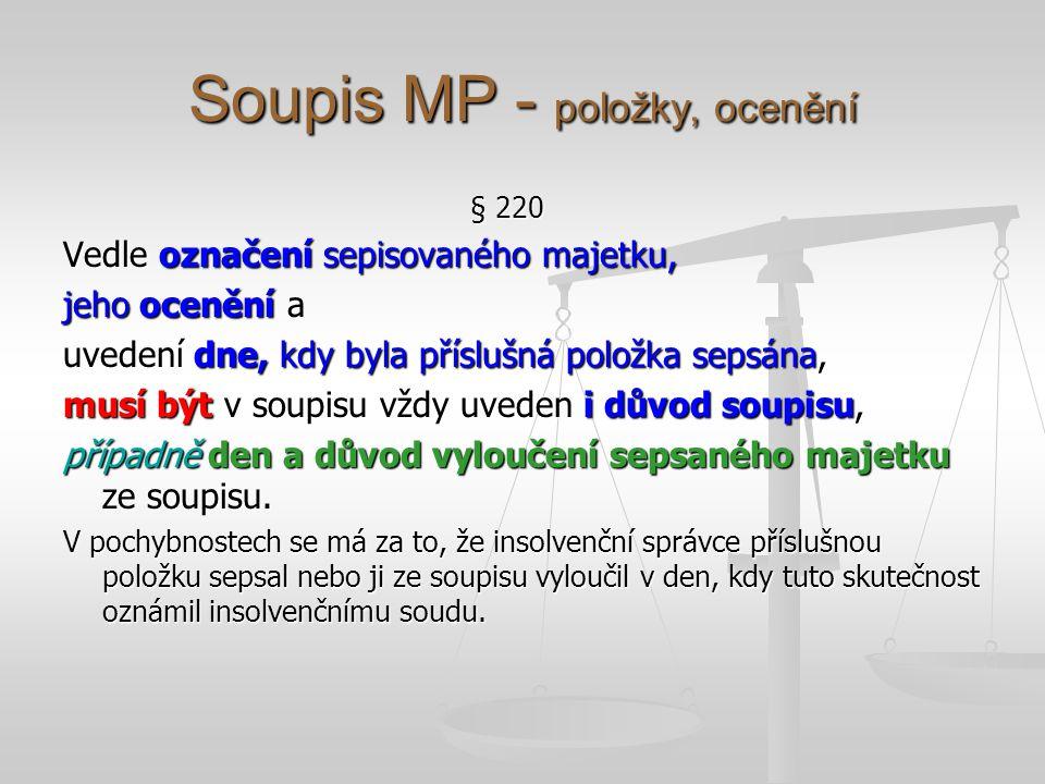 Soupis MP - položky, ocenění