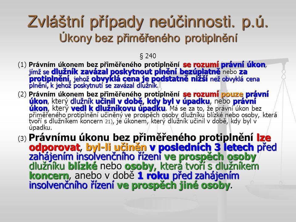 Zvláštní případy neúčinnosti. p.ú. Úkony bez přiměřeného protiplnění
