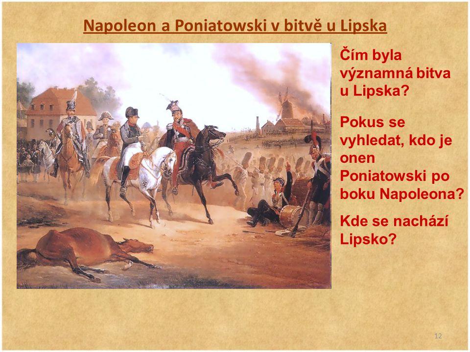 Napoleon a Poniatowski v bitvě u Lipska