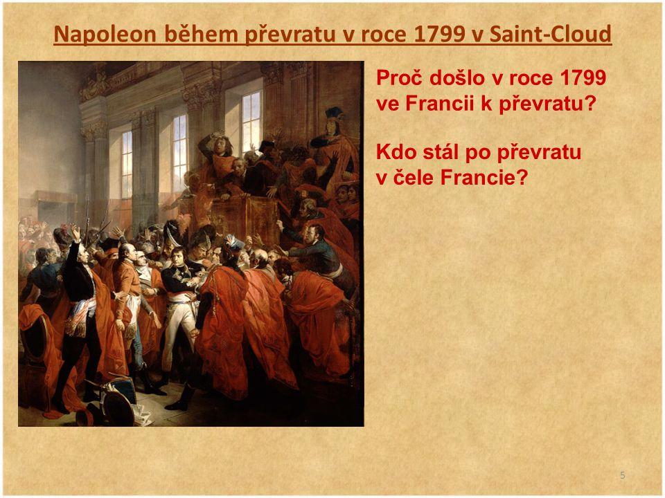 Napoleon během převratu v roce 1799 v Saint-Cloud