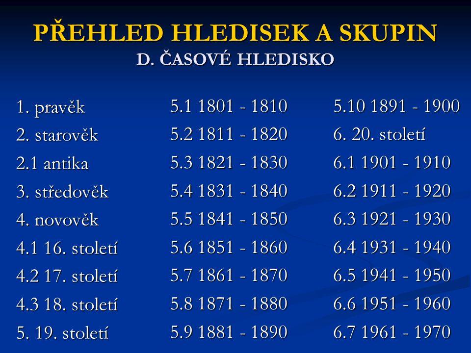 PŘEHLED HLEDISEK A SKUPIN D. ČASOVÉ HLEDISKO