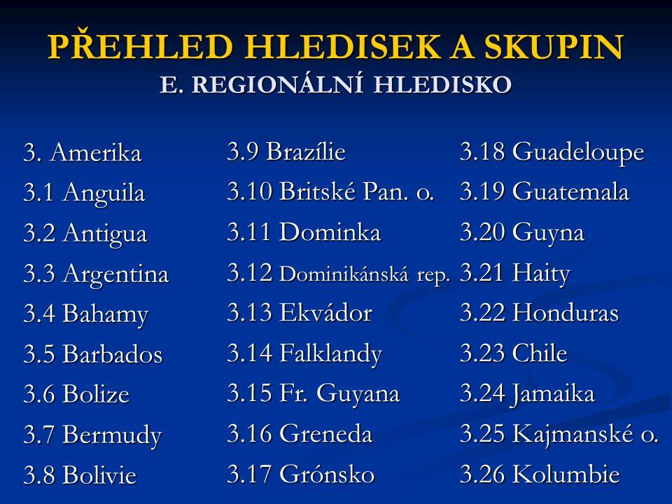 PŘEHLED HLEDISEK A SKUPIN E. REGIONÁLNÍ HLEDISKO