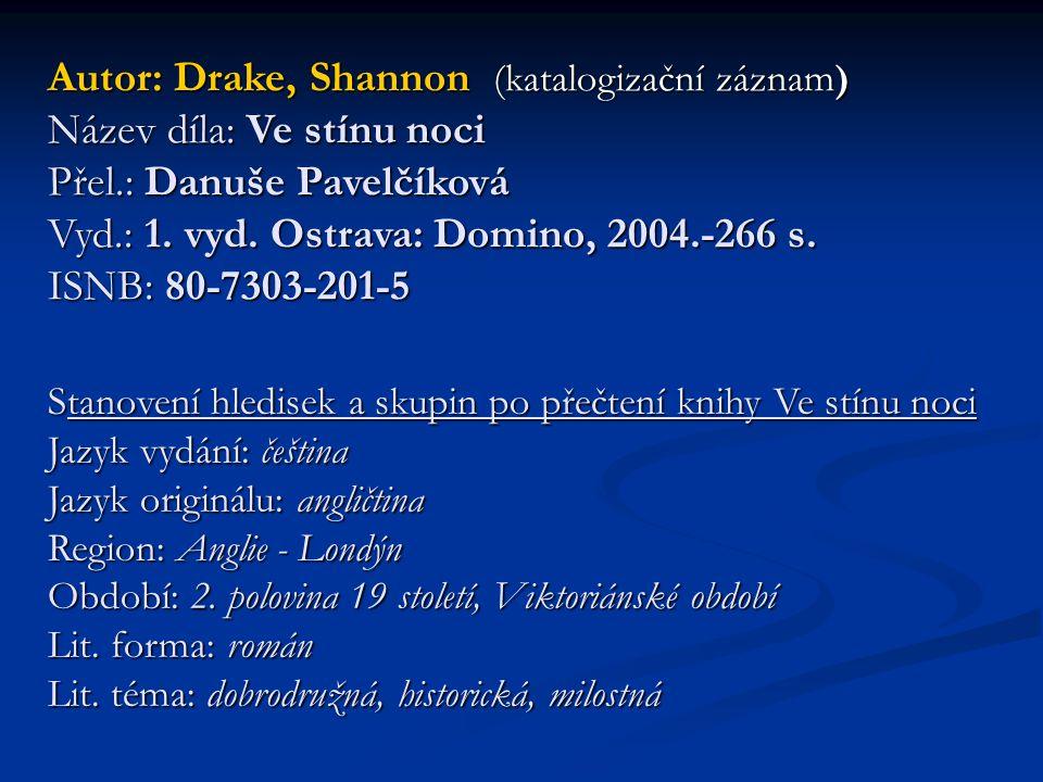 Autor: Drake, Shannon (katalogizační záznam) Název díla: Ve stínu noci Přel.: Danuše Pavelčíková Vyd.: 1. vyd. Ostrava: Domino, 2004.-266 s. ISNB: 80-7303-201-5