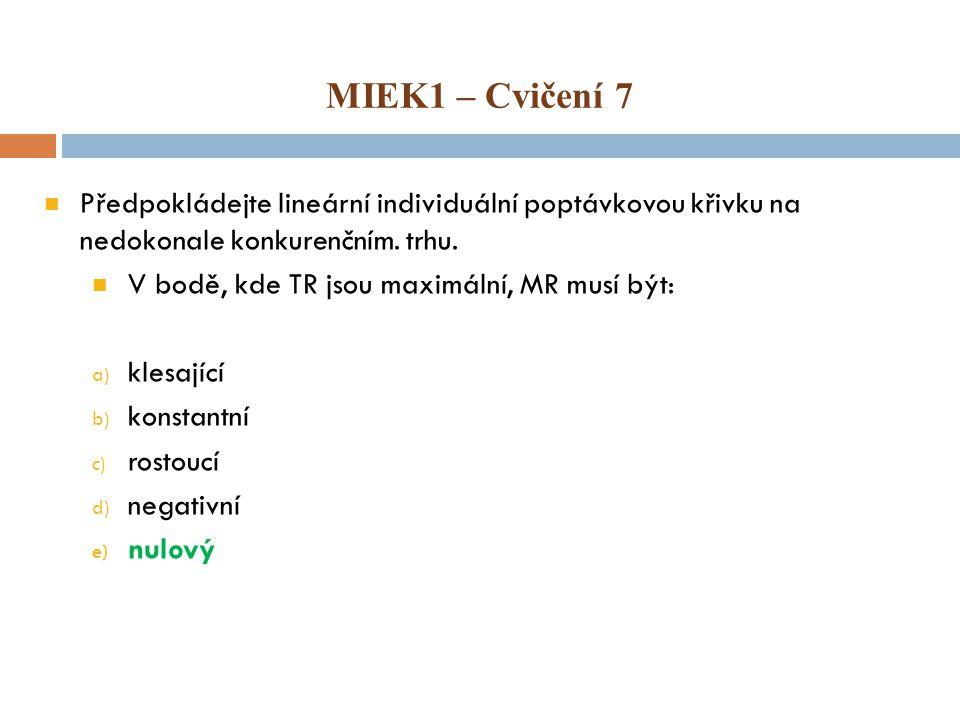 MIEK1 – Cvičení 7 Předpokládejte lineární individuální poptávkovou křivku na nedokonale konkurenčním. trhu.
