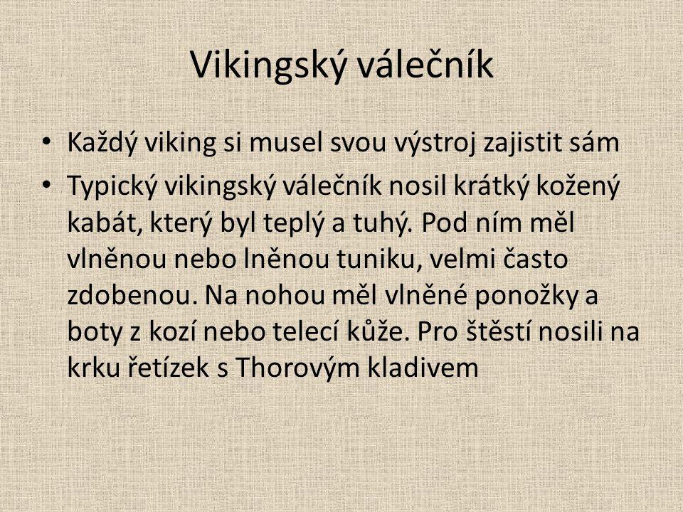 Vikingský válečník Každý viking si musel svou výstroj zajistit sám