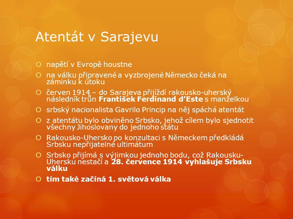 Atentát v Sarajevu napětí v Evropě houstne