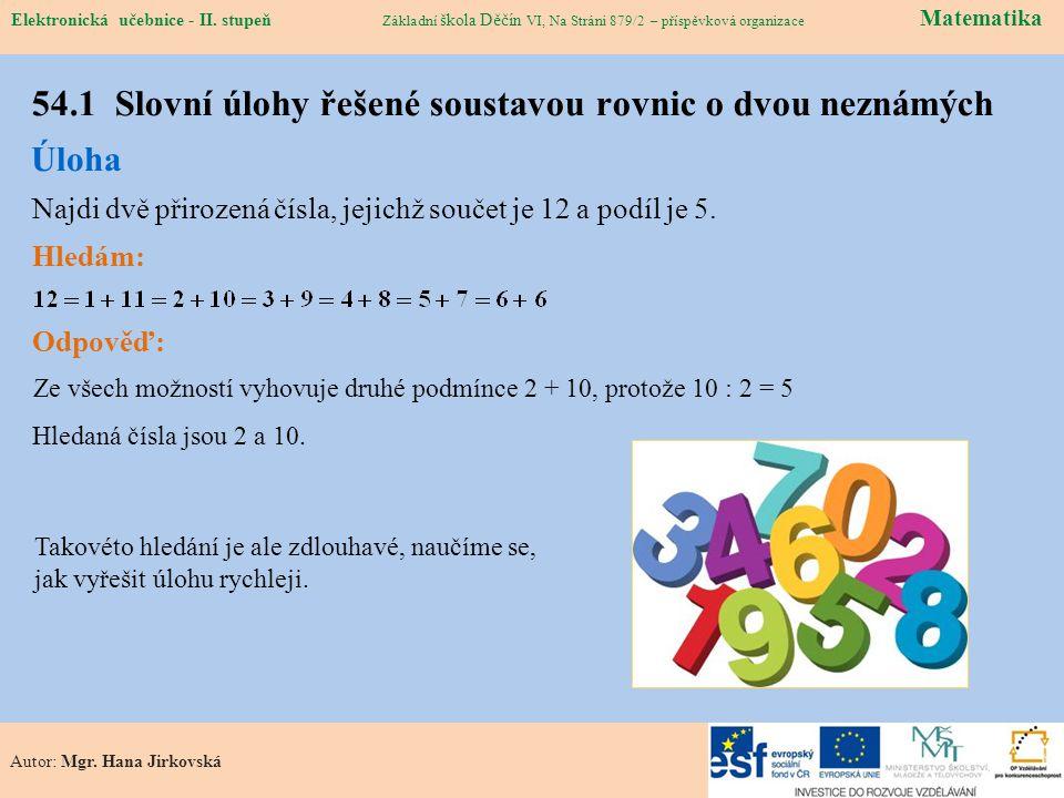 54.1 Slovní úlohy řešené soustavou rovnic o dvou neznámých