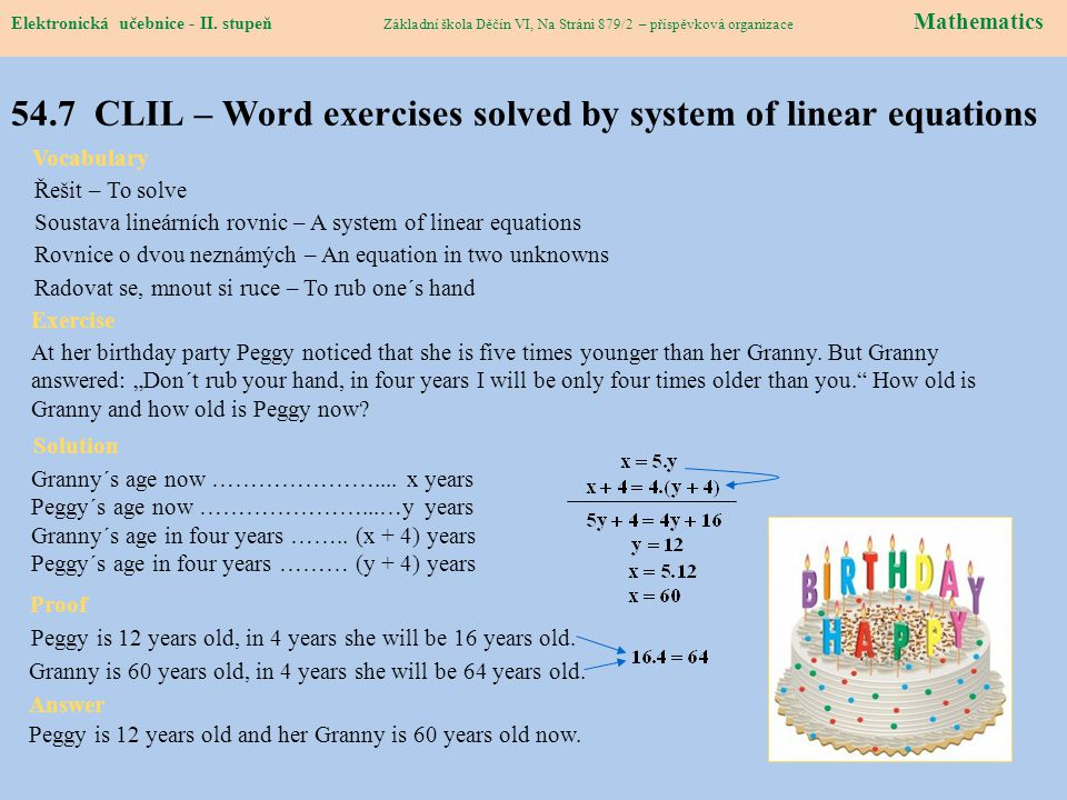 54.7 CLIL – Word exercises solved by system of linear equations