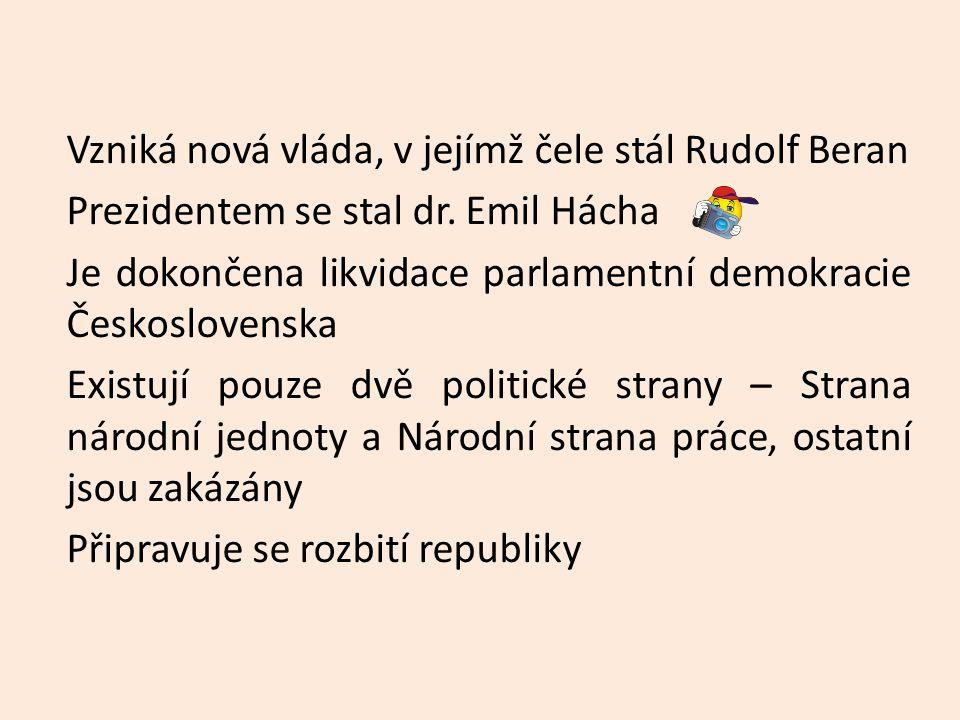 Vzniká nová vláda, v jejímž čele stál Rudolf Beran Prezidentem se stal dr.