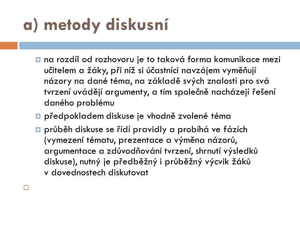 a) metody diskusní