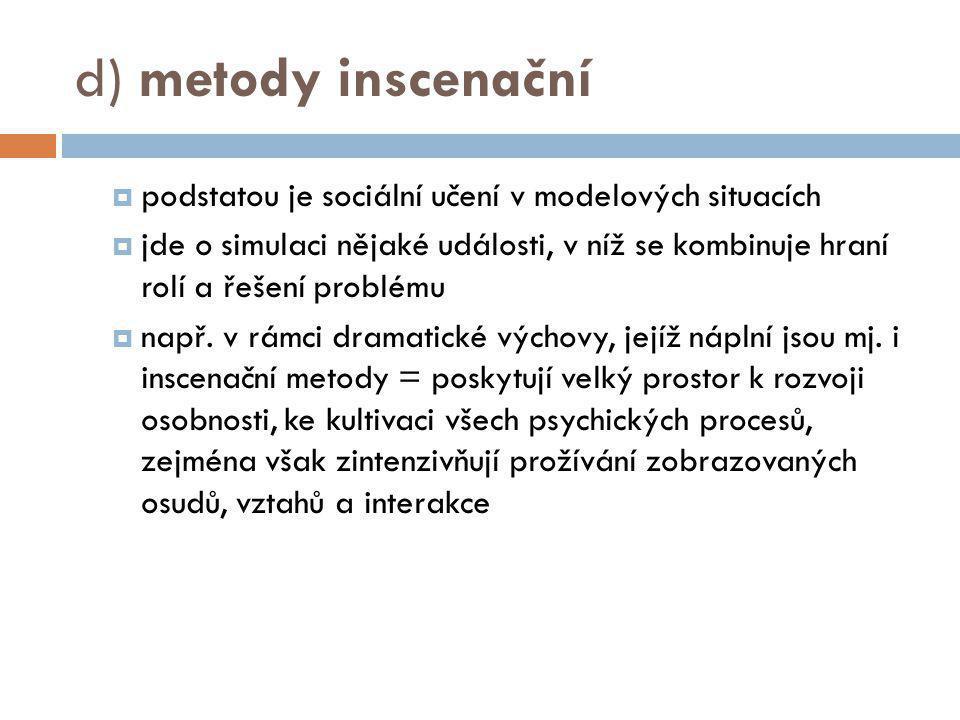 d) metody inscenační podstatou je sociální učení v modelových situacích.
