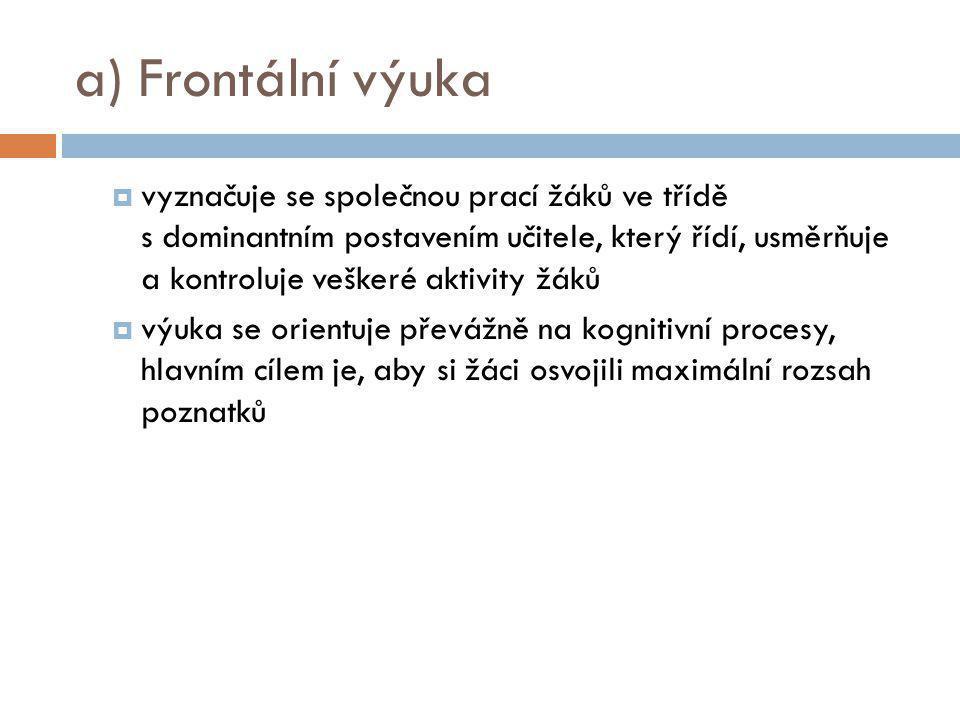a) Frontální výuka