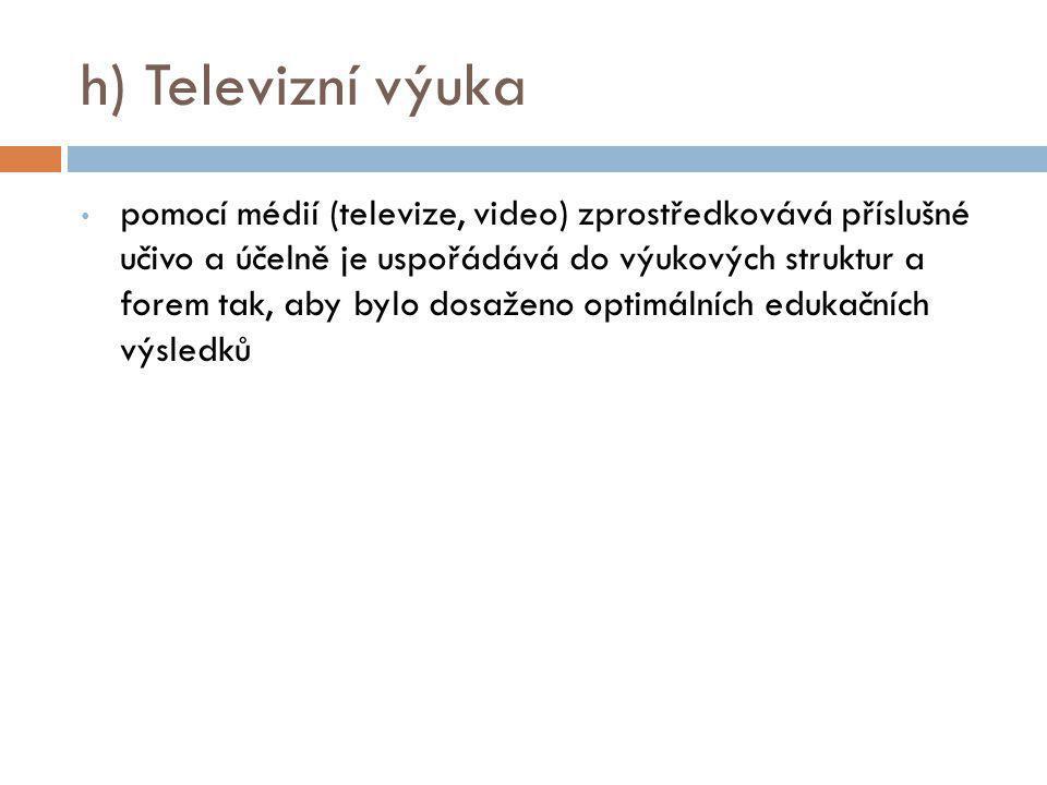 h) Televizní výuka