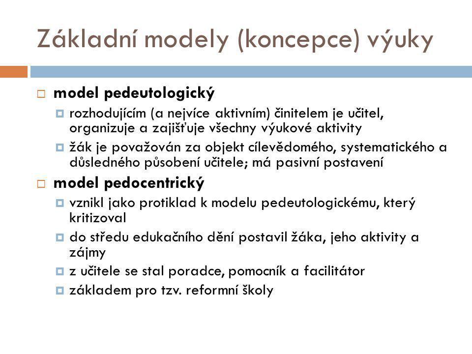 Základní modely (koncepce) výuky