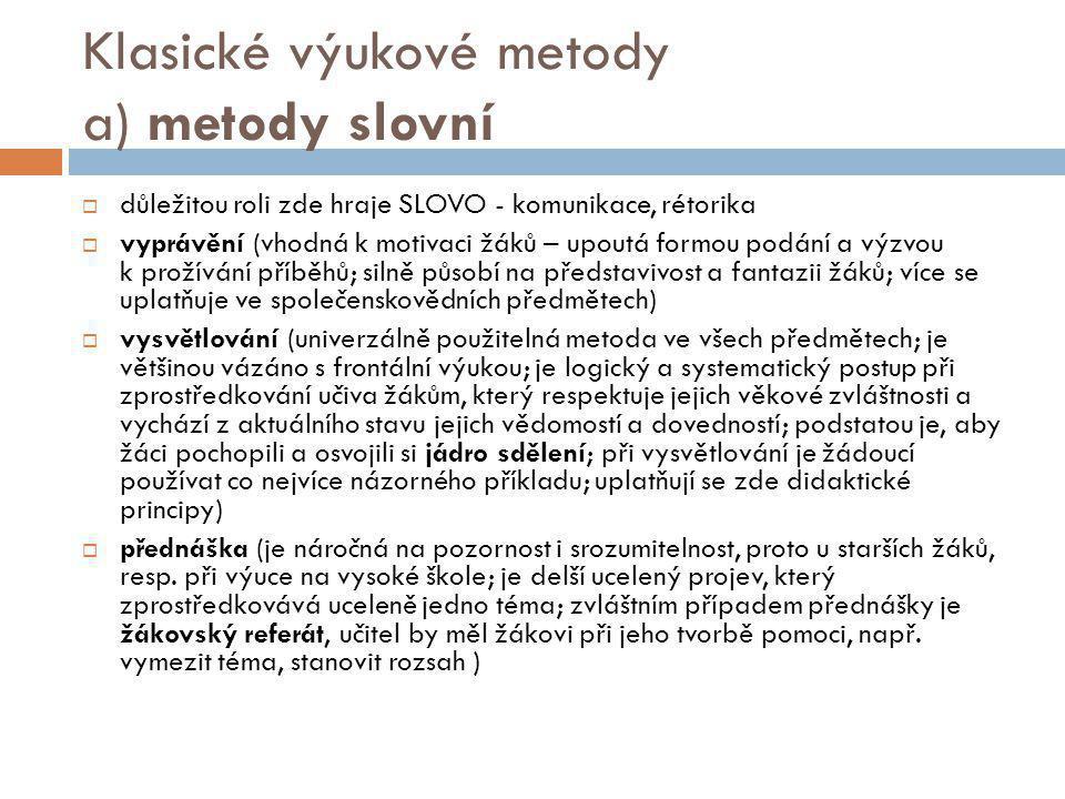 Klasické výukové metody a) metody slovní