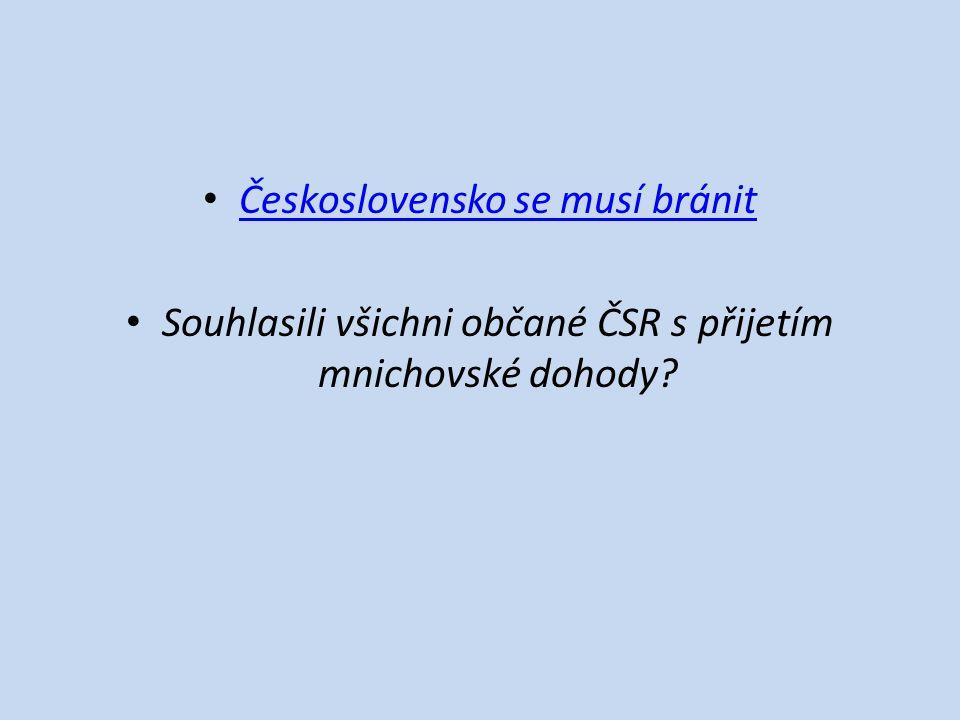 Československo se musí bránit