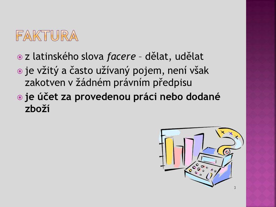 Faktura z latinského slova facere – dělat, udělat
