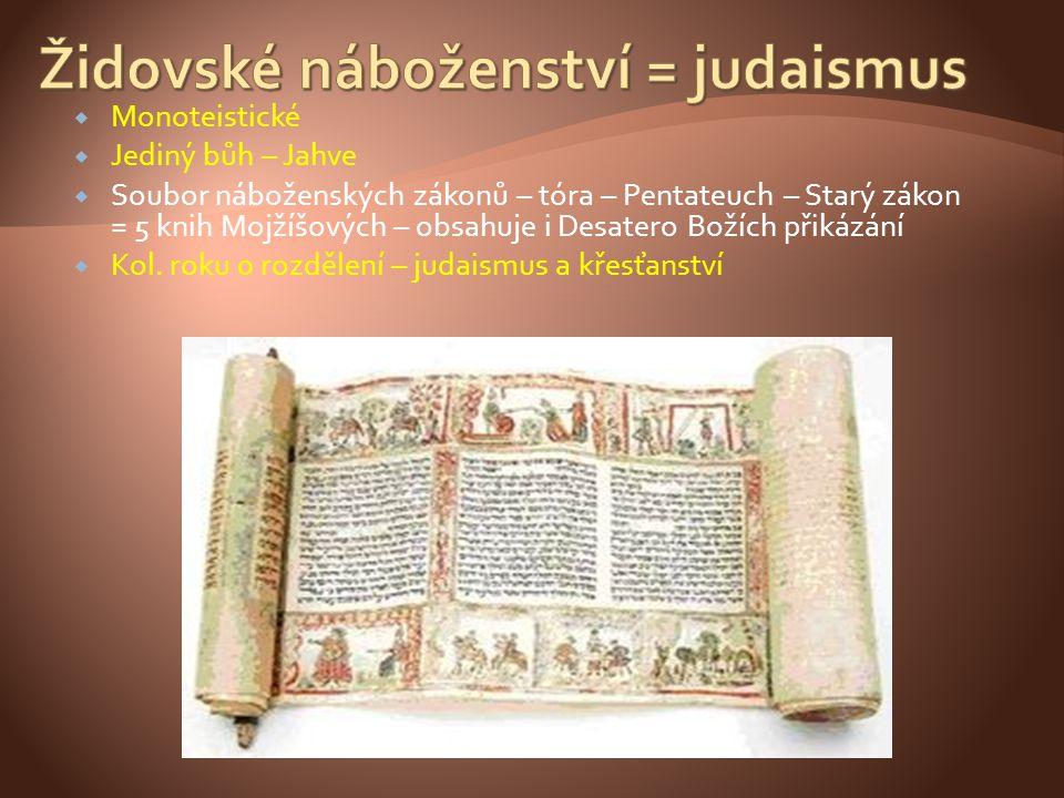 Židovské náboženství = judaismus