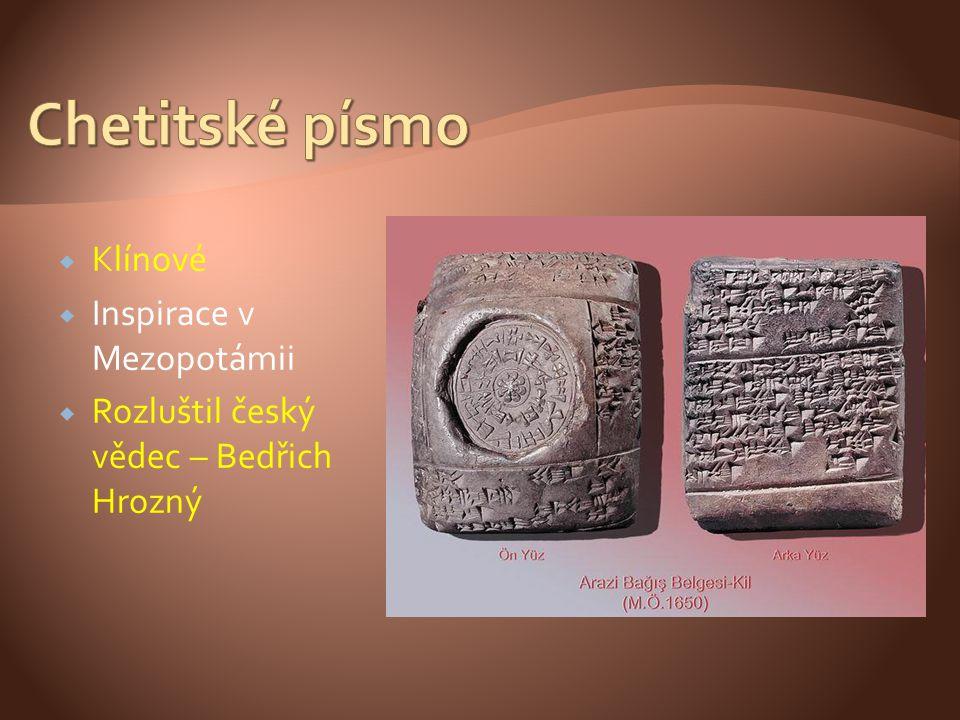 Chetitské písmo Klínové Inspirace v Mezopotámii