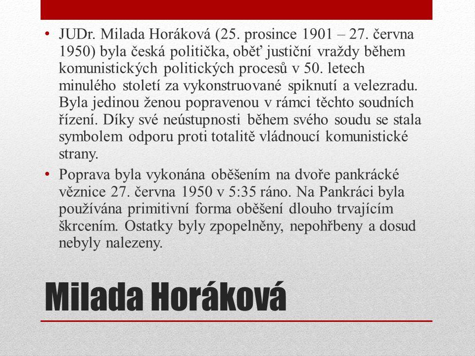 JUDr. Milada Horáková (25. prosince 1901 – 27
