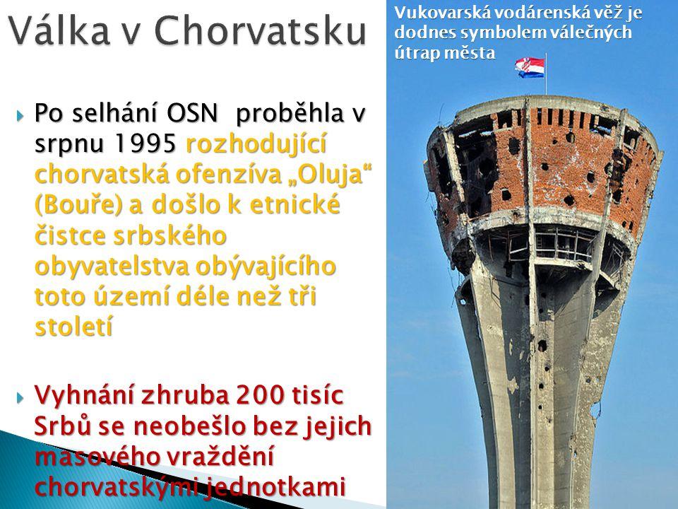 Válka v Chorvatsku Vukovarská vodárenská věž je dodnes symbolem válečných útrap města.
